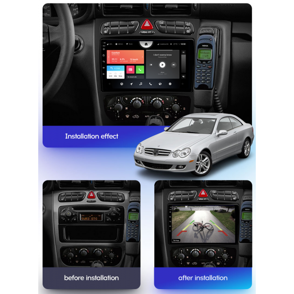 Mercedes Benz W203 C-Class W209 CLK  ML Viano W639 2002 - 2006 9 Inch Android Navigation Radio