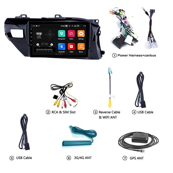 Toyota Hilux 2018 - 2021 10.1 Inch Android Satnav Radio Car Audio Sound System